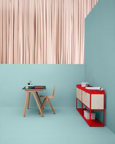 Hay - colours - muted blue and pink with clear popping red #Palette