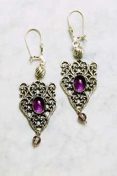 Fashion Jewelry Jewelry & Watches Purple Enamel Work Handmade Earring 5 Cm Silver Overlay Elegant And Sturdy Package