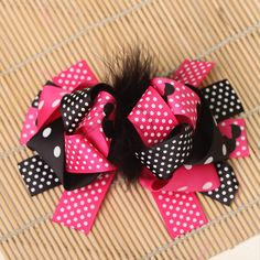 1pcs 6 inch kids baby girls feather hair clip ribbon bows barrette accessories for girls hair bow ornaments hairgrip hairclip