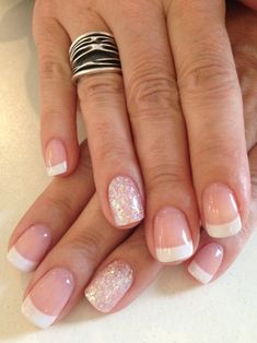Gel french manicure french manicure with glitter, french manicure gel nails, coloured french manicure Ongles Gel French, Glitter French Manicure, French Manicure Designs, Gel Nail Designs, Nail Manicure, French Manicures, Manicure Ideas, Nail Ideas, Glitter Nails