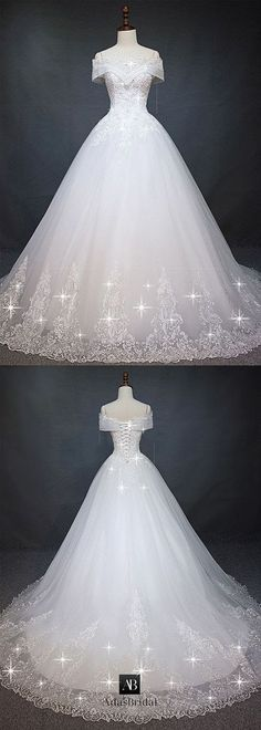 Marvelous tulle off-the-shoulder neckline ball gown wedding dress with pearls ., Marvelous Tulle Off-the-Shoulder Neckline Ball Gown Wedding Dress with Pearls . - Wedding and Bride Marvelous Tulle Off-the-Shoulder Neckline Ball G. Dream Wedding Dresses, Bridal Dresses, Wedding Gowns, Tulle Wedding, Quinceanera Dresses, Beautiful Gowns, Pretty Dresses, Ball Gowns, Ball Dresses