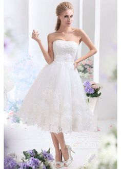 Dreamy A-Line Sweetheart Tea Length Tulle Wedding Dress CWLA13003 ...