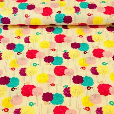 cotton fabric Camelot Cottons - Baby Dino Cream Trees