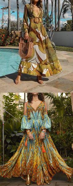 Boho Style Maxi Dresses For Woman Classy Dress, Classy Outfits, Stylish Outfits, Maxi Robes, Maxi Dresses, Pretty Dresses, Beautiful Dresses, Boho Fashion, Fashion Outfits