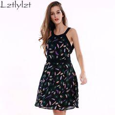 """lztlylzt Dress """"Feather"""" Print Fashion Chiffon Dress Women Summer Short Backless Vestido De Festa Sexy Cute Dresses Clothes"""