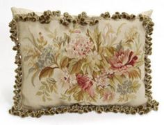 French Suzanne Hollyhock Aubusson Pillow