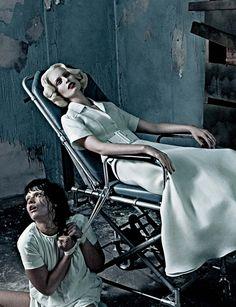 "Karolina Kurkova and Crystal Renn in ""Institute White"" by Steven Klein for Interview Magazine March 2012"