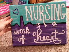 Nursing is a Work of Heart EKG Canvas in Purple and Teal - workoffice Wine And Canvas, Mini Canvas, Diy Canvas Art, Canvas Crafts, Canvas Ideas, Canvas Canvas, Hobby Lobby, Feng Shui, Nurse Drawing