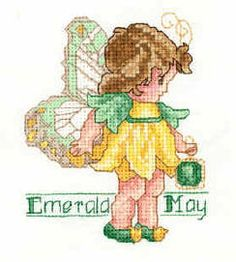 Toddler Birthstone Fairy May Emerald Cross Stitch Pattern 1/5