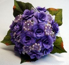 Purple Paper  Flower Wedding Bouquet Ready to ship Handmade Brooches. $135.00, via Etsy.