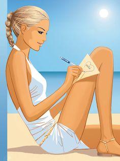 Writing Love Letters at the Beach ~ Jason Brooks art illustration