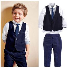 Custom Kids Formal Suits 3 Pcs Sets Gentleman Kids Baby Boys Suit ( vest + pants + tie new Boys Suit Vest, Baby Boy Suit, Boys Formal Suits, Boys Suits, Wedding Suit Styles, Wedding Suits, Outfits Niños, Kids Outfits, Neue Outfits