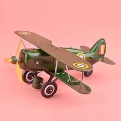 Handmade Classic Glider Plane Clockwork Toys Retro Tinplate Toys Wine Bar Decoration