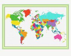 Mapa del mundo cruz puntada patrón  cruz por PatternStitchShop