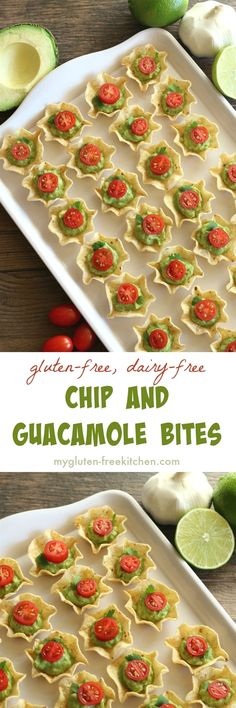 "Chip and Guacamole Bites gluten-free appetizer recipe. Dairy-free too! ""Gluten free recipe - Dairy free - Chip and Guacamole Bites gluten-free appetizer re No Cook Appetizers, Finger Food Appetizers, Holiday Appetizers, Delicious Appetizers, Holiday Parties, Halloween Appetizers, Appetizer Ideas, Avacado Appetizers, Prociutto Appetizers"