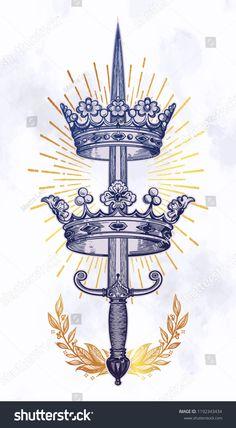 Ornate Crowns Pierced By Sword Vintage Stock Vector (Royalty Free) 1192343434 Body Art Tattoos, Sleeve Tattoos, Heart Tattoos, Skull Tattoos, Tattoo Sketches, Tattoo Drawings, Tatoo Geek, Vintage Tattoo Design, Vintage Tattoo Art