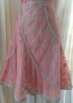 Pink Embroidered Trumpet Skirt Size L GORGEOUS by burlesqueblonde, $32.00