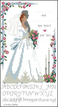 Dimensions 16620 One Love Cross Stitch Boards, Cross Stitch Heart, Cross Stitch Flowers, Wedding Cross Stitch Patterns, Cross Stitch Designs, Cross Stitching, Cross Stitch Embroidery, Wedding Birds, Plastic Canvas Patterns