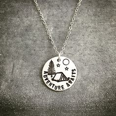 Adventure Awaits Hand Stamped Sterling Silver Necklace Camping Nature Explore Tent Camper Jewelry