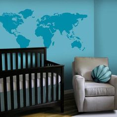 Large World Map 7 continents land home bird Art Decals Wall Sticker Vinyl Wall Decal stickers living room bed baby room