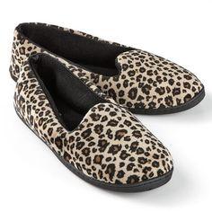Dearfoams Velour Leopard Slippers