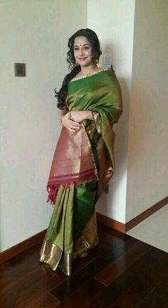 vidya balan in green silk saree