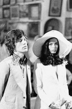 """Mick and Bianca at their wedding in 1971      """"As notorious for his relationships as for his music, Mick Jagger married Bianca De Macias in a Catholic ceremony in Saint-Tropez. The band had moved to the south of France earlier that year as tax exiles."""""""