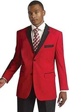 86e7a8daa5 Mens Red Black Trim Tuxedo 2 Piece Modern Formal Wedding Suit at Amazon  Men's Clothing store: