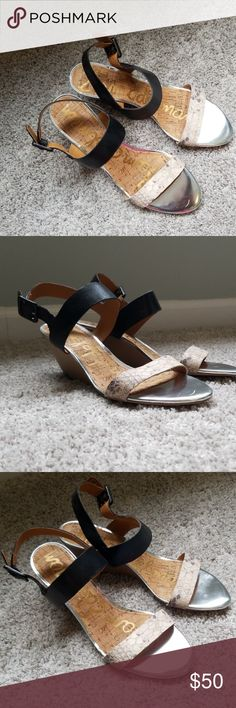 08bb0a6fa Sam Edelman low wedges. Black with beige snake skin. Super cute. Maybe worn  once. I don t ever wear heels. Sam Edelman Shoes Wedges