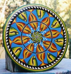 Fish Hex Sign, 22 inches diameter, used as art for Chardonnay label, by Kathy Dennett, Wing Canyon Vineyard