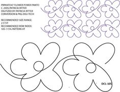 Flower Power Pantograph by Patricia Ritter / Urban Elementz Quilting Stitch Patterns, Machine Quilting Patterns, Quilt Stitching, Quilt Patterns, Quilting Stencils, Quilting Templates, Quilting Tutorials, Quilting Projects, Crazy Quilting