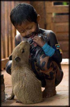 Friends -  The Xingu National Park, Brazil Animals For Kids, Cute Animals, Baby Capybara, Indian Boy, Brazilian People, Beautiful Children, Beautiful Babies, World Cultures, Little People