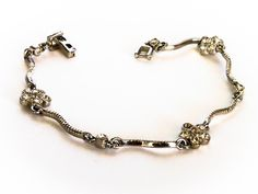 Vintage Silver Rhinestone Flower Bracelet     7  Inch by GemstoneCowboy on Etsy