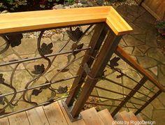 leaf design wrought iron railings by Riggo Design Steel Railing, Metal Railings, Metal Fence, Front Porch Railings, Deck Railings, Patio Storage, Front Yard Design, Decorative Leaves, Porch Steps