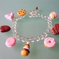 Bracelet 8 gourmandises,  chocolat et rose, pour adulte ou enfant