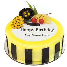 Online Write Name On Pineapple Birthday Cake Images Happy Birthday Cake Writing, Birthday Cake Write Name, Birthday Wishes With Name, Happy Birthday Kids, Happy Birthday Cake Images, Birthday Wishes Cake, Birthday Cake With Photo, Birthday Cake Pictures, Cake Name