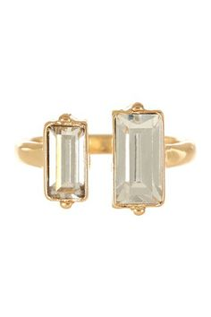 double rectangle faceted glass stone ring