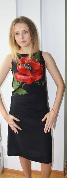 Платье из льна с набитым рисунком из шерсти