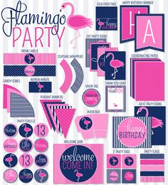 Flamingo PRINTABLE Party by Love The Day by lovetheday on Etsy, $45.00