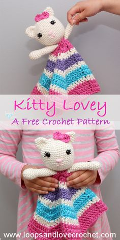 Kitty Lovey - Free Crochet Pattern Loops & Love Crochet This Kitty Lovey was so fun to make and I am in love with how she turned out! Free, beginner-friendly crochet pattern by Loops and Love Crochet! Crochet Patterns Amigurumi, Crochet Blanket Patterns, Baby Blanket Crochet, Crochet Baby, Crochet Birds, Lace Patterns, Crotchet, Doll Patterns, Dress Patterns