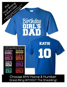 Impact Birthday Girl's Dad Shirt - Personalize the Name, Age and Colors - Birthday Party Matching Shirts by MagicalMemoriesbyJ on Etsy Family Birthday Shirts, Family Birthdays, 10th Birthday, Girl Birthday, Dad To Be Shirts, Tee Shirts, Mom And Sister, Matching Shirts, Shirt Ideas