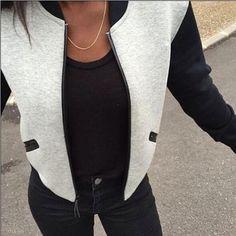 Barato 2016 primavera de moda de nova mulheres jaqueta Casual de manga comprida…