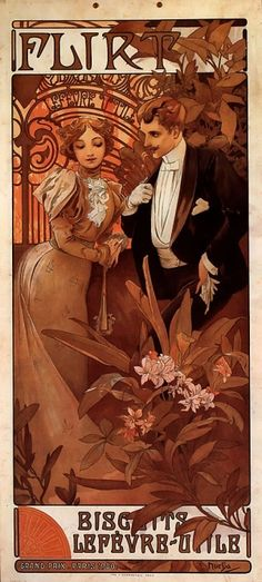 (From Laura) Vintage illustration french Art Nouveau poster for Flirt Biscuits by Alphonse Mucha. 1899 featuring a love and romance image with a man and a woman in a fancy tuxedo and an elegant Victorian wedding gown. Mucha Art Nouveau, Alphonse Mucha Art, Art Nouveau Poster, Comics Vintage, Vintage Posters, Vintage Art, Vintage Style, Old Illustrations, Illustration Art Nouveau