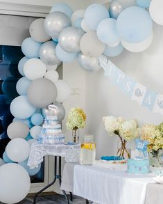 Pastel blue balloon decoration - blue baby shower #babyshower #balloondecor #balloondecoration #bluebabyshower #pastelblue #babyblue Bunny Birthday, Blue Balloons, Pastel Blue, Balloon Decorations, Baby Blue, Baby Shower, Party, Design, Babyshower