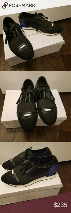 Balenciaga runners authentic Price reflects the minor wear these have. I wore them 3 or 4 times, in dry weather for street walking. The only wear is on the soles. Which I show in photo 5. These fit a true woman's size 7.5. They come in the box with cloth travel bag. Offers welcome if reasonable. These just wernt my style really, they were a gift and I tried to love them, but I just don't reach for them. Balenciaga Shoes Sneakers