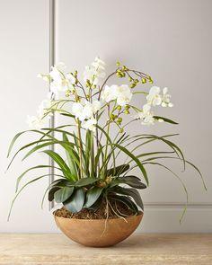 Faux Moth Orchid in Planter # Boden # Laub # gemalt - Bepflanzung Orchid Planters, Orchid Pot, Moth Orchid, Phalaenopsis Orchid, Orchid Care, Flower Planters, Artificial Flower Arrangements, Artificial Flowers, Floral Arrangements