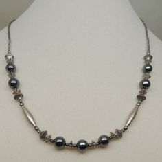 Vintage Silver and Hematite Necklace by DesignsbyAlladania on Etsy, $10.00