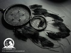 Pentacle Dream Catcher / dreamcatcher home bedroom decor gift idea / black faux leather pentagram beads gothic feathers / occult spiritual