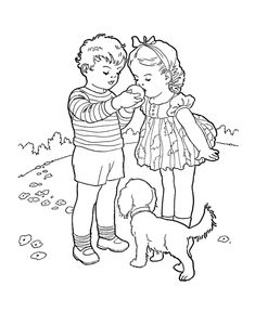 activity-sheets: Kids Coloring pages for children - sharing an orange