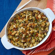 Herbed Apricot-Pecan Stuffing offers a visual and tasty contrast to a traditional Thanksgiving spread without sacrificing any of the...